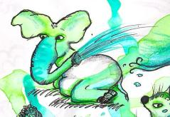 water sprinkeling elephant 24-9-13
