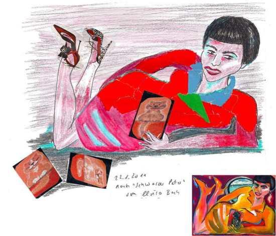 "painting Elvira Bach ""Schwarzer Peter"" - and my mixed media art"